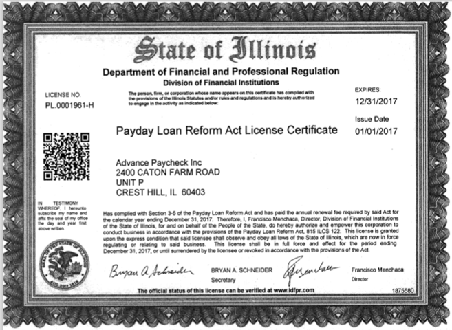 State Of Illinois Terms And Conditions Advance Paycheck